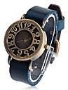 Unisex Round Leather Quartz Analog Wrist Watch
