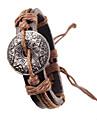 Этническая 17см Мужская Браун Кожаный браслет (черный, коричневый) (1 шт)