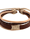 Punk 5.4cm Men\'s coffee Leather Leather Bracelet (1 Pc)
