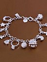 Sweet 18.5cm Women's Silver Copper Charm Bracelet(Silver)(1 Pc)