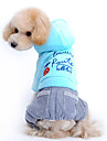 Dog Coat / Hoodie / Pants / Clothes/Clothing Blue / Pink Winter Letter & Number
