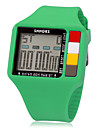 Unisex Multi-Functional Digital Square LCD Rubber Band Wrist Watch (Assorted Colors)