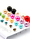 Multicolor Ball Stud Earrings(Color Mixed,12 Pairs)