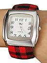 Donna semplice manopola del quadrato Craquelure del grano della lega pu banda quarzo analogico della vigilanza del braccialetto (colore casuale)