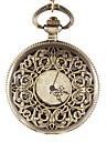 Unisex Western Style Vintage Carve Bronze Alloy Quartz Analog Pocket Watch