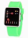Unisexe binaire affichage LED brillant Couleur de bande de silicone de montre-bracelet (couleurs assorties)