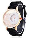 Double Cercle des femmes cadran analogique à quartz en silicone noir bracelet au poignet