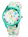 Women\'s Colorful Flower Green Case Silicone Band Quartz Wrist Watch