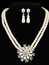 cadeau voor moeder modeketen met bloemvorm parel sieraden sets