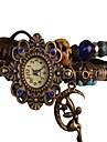 Estilo Vintage Lua Anjo pingente pulseira de couro das mulheres relógio pulseira de quartzo