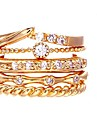 5PCS European Style Zircon Fashion Gold Circle Ring Settings
