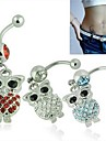 Lureme®316L Surgical Titanium Steel Crystal Owl Pendant Navel Ring(Random Color)