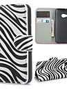 Zebra Pattern PU Leather Case with Magnetic Snap and Card Slot for HTC One M8 Mini