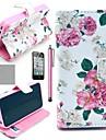 필름 COCO 재미 ® 아름다운 장미 꽃 패턴 PU 가죽 가득 차있는 몸 케이스, 스탠드와 스타일러스 아이폰 4/4S를위한