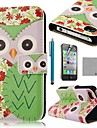 Коко FUN ® Green Flower Сова шаблон PU кожаный чехол всего тела с экрана протектор, стенд и стилус для iPhone 4/4S