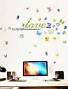Carta de amor y mariposas de moda pegatinas de pared de plastico (1pcs)
