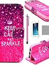 COCO FUN ® Keep Calm And Sparkle Mönster PU Leather Full Body Case med Screen Protector, Stå och Stylus för iPhone 5/5S
