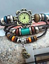 Women's Vintage Crown Pendant Style Leather Handmade Weave Band Quartz Analog Bracelet  Watch Cool Watches Unique Watches
