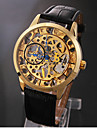 Mannen Elegant Gold Skeleton zwart lederen band Manual mechanisch horloge