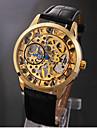 Esqueleto Negro Oro Manual banda de cuero elegante de los hombres reloj de pulsera mecanico
