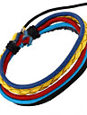 European Style Unisex Cool Multicolor Leather Bracelet (Random color)