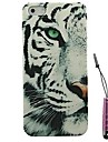Half Face Snow Leopard Pattern Hard Case & Touch Pen for iPhone 4/4S