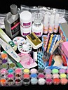 42PCS Acrylic Powder Brush Glitter Clipper File Nail Set 3 Nail Art Dotting Pens 3 Nail Glues 4-way Buffer Block 12 Mylar Glitter Acrylic Liquid