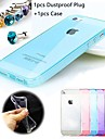 1pcs Middle Transparent Two Matte in Three Part TPU Soft Case and 1pcs Dustproof Plug for iPhone 5/5S (Assorted Colors)