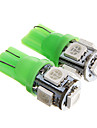 T10 1W 100LM 5×5050 SMD LED Green Light for Car Dashboard / Door / Trunk Lamps (DC12V  2Pcs)