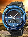 Men's Solar Powered Multifunctional Dual Time Zones Rubber Band Sporty Wrist Watch Cool Watch Unique Watch