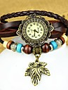Women's Fashion Leaf Leather Bracelet Watch(Assorted colors) Cool Watches Unique Watches
