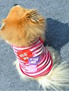 Cat / Dog Shirt / T-Shirt Purple / Pink Dog Clothes Summer Hearts / Stripe Fashion