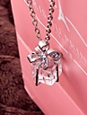 Korean Square Crystal Bow Gift Box Pendant Necklace