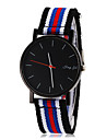 Men\'s Simple Black Dial Stripe Fabric Band Quartz Wrist Watch (Assorted Colors) Cool Watch Unique Watch Fashion Watch