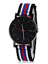 Men\'s Simple Black Dial Stripe Fabric Band Quartz Wrist Watch (Assorted Colors) Cool Watch Unique Watch Fashion Watch