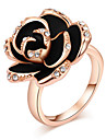 European Austria Crystal Black Rose Oildrop Alloy Statement Rings(1 Pc)