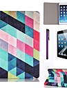 Multicolour Lattice Pattern PU Leather Case with Screen Protector and Stylus for iPad mini 3/2/1