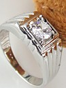 Korean Style Contracted Square Rhinestone Men's Ring Christmas Gifts