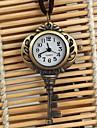 Unisex Key Shaped Bronze Alloy Quartz Necklace Watch Cool Watches Unique Watches
