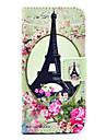 코코 fun®은 아이폰 5C에 대한 화면 보호기와 꽃 에펠 패턴 PU 가죽 전신 케이스 장미