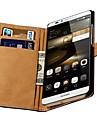 estojo de couro genuíno com slots de cartão para Huawei Ascend companheiro 7