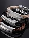 мс моды многослойные покрытия серебристый кожаный браслет изысканный подарок