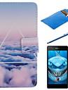 небо облака Дизайн PU кожа Полный чехол для тела с пером, защитная пленка и Мягкий чехол для Sony Xperia м2