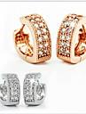 Heart Stud Earrings Jewelry Women Heart Wedding Party Daily Sterling Silver Cubic Zirconia