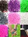 S-클립 무지개 직기 팔찌에 대한 600pcs 순수한 색상 DIY twistz 실리콘 고무 밴드 (모듬 된 색상)