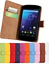 couleur unie en cuir veritable cas de tout le corps avec support et fente pour carte pour LG E960 / nexus 4 (couleurs assorties)