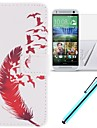 For HTC Case Card Holder / Wallet / with Stand / Flip Case Full Body Case Feathers Hard PU Leather HTC