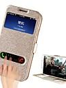 Para Samsung Galaxy Capinhas Com Suporte com Visor Flip Capinha Corpo Inteiro Capinha Cor Unica Couro PU para Samsung S4