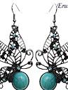 eruner®vintage papillon grreen boucles d'oreilles turquoise