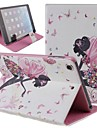 Butterfly Fairy Girl Inlaid Shiny Glitter Diamond PU Flip Protective Case Cover for iPad mini